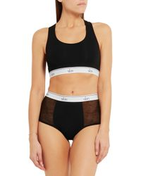 Skin | Black Olivia Tulle-paneled Organic Stretch-cotton Jersey Briefs | Lyst