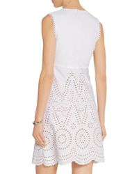 Stella McCartney | White Aline Broderie Anglaise Cotton Mini Dress | Lyst