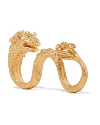 Valentino | Metallic Dog Gold-plated Three-finger Ring | Lyst