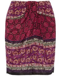 Anna Sui - Purple Printed Silk And Cotton-blend Mini Skirt - Lyst