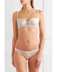 L'Agent by Agent Provocateur - White Madelene Satin And Leavers Lace Balconette Bra - Lyst