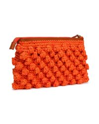 M Missoni - Orange Crocheted Cotton-blend Clutch - Lyst