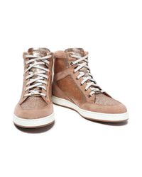 Jimmy Choo - Multicolor Glittered Suede High-top Sneakers - Lyst