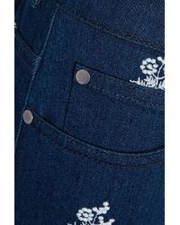 Stella McCartney - Blue Embroidered High-rise Wide-leg Jeans Dark Denim - Lyst