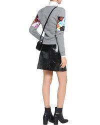 Carven - Satin-paneled Cotton-blend Sweater Light Gray - Lyst