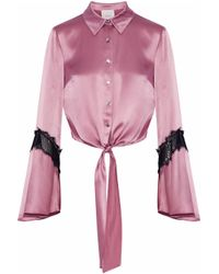 Cinq À Sept - Pink Woman Genevieve Tie-front Chantilly Lace-trimmed Silk-satin Shirt Antique Rose - Lyst