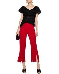 M Missoni - Black Ruffle-trimmed Cotton-blend Crochet-knit Top - Lyst