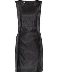 Love Moschino - Black Metallic Stretch Cotton-blend Mini Dress - Lyst