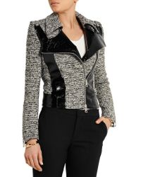 Bouchra Jarrar | Black Wool-blend Tweed And Faux Patent-leather Jacket | Lyst