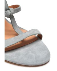 Halston Heritage - Gray Kami Knotted Suede Sandals - Lyst