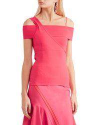 Jason Wu - Pink Cold-shoulder Asymmetric Stretch-knit Top - Lyst