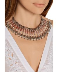 Etro - Pink Silver-plated, Rhodonite And Mother-of-pearl Necklace - Lyst