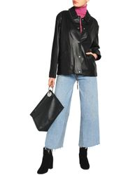 Alexander Wang - Black Lace-up Detailed Nappa Leather Jacket - Lyst
