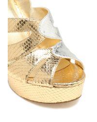 MICHAEL Michael Kors - Metallic Snake-effect Leather Platform Sandals - Lyst
