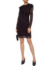 Ganni - Woman Flynn Ruffled Lace Mini Dress Black - Lyst