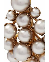 Elizabeth Cole - Metallic Gold-tone Faux Pearl Earrings - Lyst
