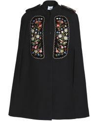Vilshenko - Black Embellished Velvet-appliquéd Gabardine Cape - Lyst