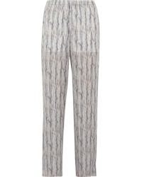 Theyskens' Theory | White Printed Silk Wide-leg Pants | Lyst