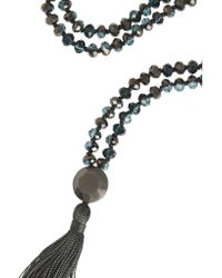 Iam By Ileana Makri | Black Oxidized Silver And Crystal Tassel Necklace | Lyst