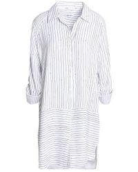 DKNY - White Striped Twill Nightshirt - Lyst