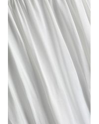 Sandro - White Corded Lace-paneled Gathered Cupro Dress - Lyst