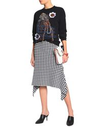 Christopher Kane - Black Floral-appliquéd Embroidered Cotton-blend Terry Sweatshirt - Lyst