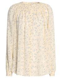 Vince - Natural Smocked Floral-print Silk Crepe De Chine Shirt - Lyst