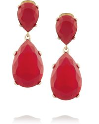 Kenneth Jay Lane - Red Gold-plated Opal Earrings - Lyst