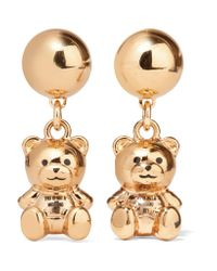 Moschino | Metallic Gold-tone Enamel Earrings | Lyst
