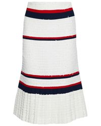 Thom Browne - White Striped Crepe-paneled Frayed Pleated Tweed Skirt - Lyst