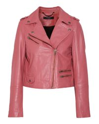 Muubaa - Pink Collumba Cropped Leather Biker Jacket - Lyst