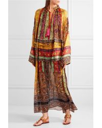 Etro - Brown Oversized Tasseled Printed Silk-chiffon Maxi Dress - Lyst