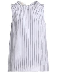 Marni - White Gathered Pinstriped Cotton-poplin Top - Lyst