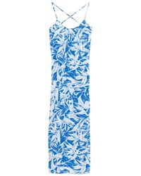 Melissa Odabash - Woman Angelina Printed Voile Maxi Dress Blue - Lyst