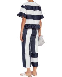 Goen.J - Blue Striped Satin And Canvas Wide-leg Pants - Lyst