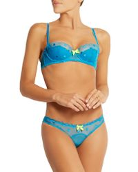 L'Agent by Agent Provocateur - Blue Aniya Embroidered Stretch-Tulle Briefs - Lyst