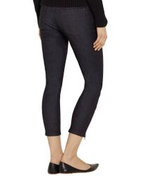 Victoria Beckham - Blue Waxed Low-rise Skinny Jeans - Lyst