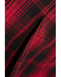 Alice + Olivia | Red Tartan Flannel Shorts | Lyst