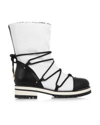 Jimmy Choo   Black Shearling-lined Leather And Piqué-shell Boots   Lyst