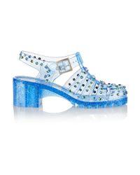 Markus Lupfer - Blue Embellished Cutout Pvc Sandals - Lyst