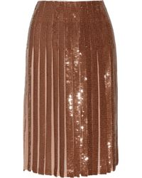 Emilio Pucci - Multicolor Metallic Pleated Sequined Silk-georgette Skirt - Lyst