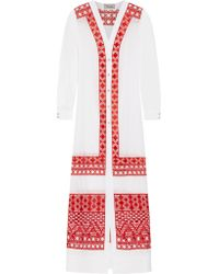 Temperley London | White Embroidered Cotton And Silk-blend Voile Maxi Dress | Lyst