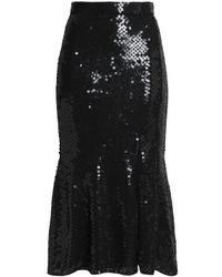 Rachel Gilbert - Black Fluted Sequined Gauze Midi Skirt - Lyst