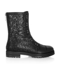 Jimmy Choo | Black Hatcher Perforated Leather Boots | Lyst