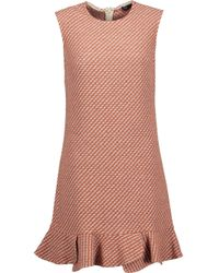 Maje - Multicolor Reja Pleated Cotton-blend Bouclé-tweed Mini Dress - Lyst