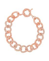 Kenneth Jay Lane   Metallic Rose Gold-tone Crystal Bracelet   Lyst