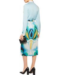 Vionnet - Blue Pleated Printed Stretch-cotton Midi Skirt - Lyst