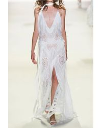Jonathan Simkhai - White Crochet-paneled Embroidered Cotton Gown - Lyst
