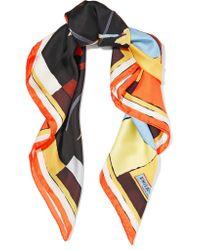 Emilio Pucci - Orange Printed Silk-satin Twill Scarf - Lyst