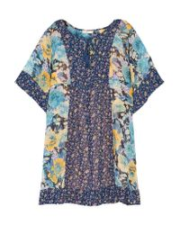 Joie | Blue Cycla Floral-printed Silk-georgette Mini Dress | Lyst